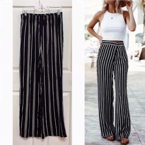 Vintage 90s Vertical Striped Wide Leg Pants